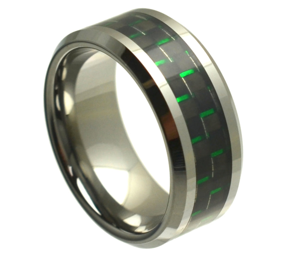 High Polish with Green Carbon Fiber - Pasha Fine Jewelry