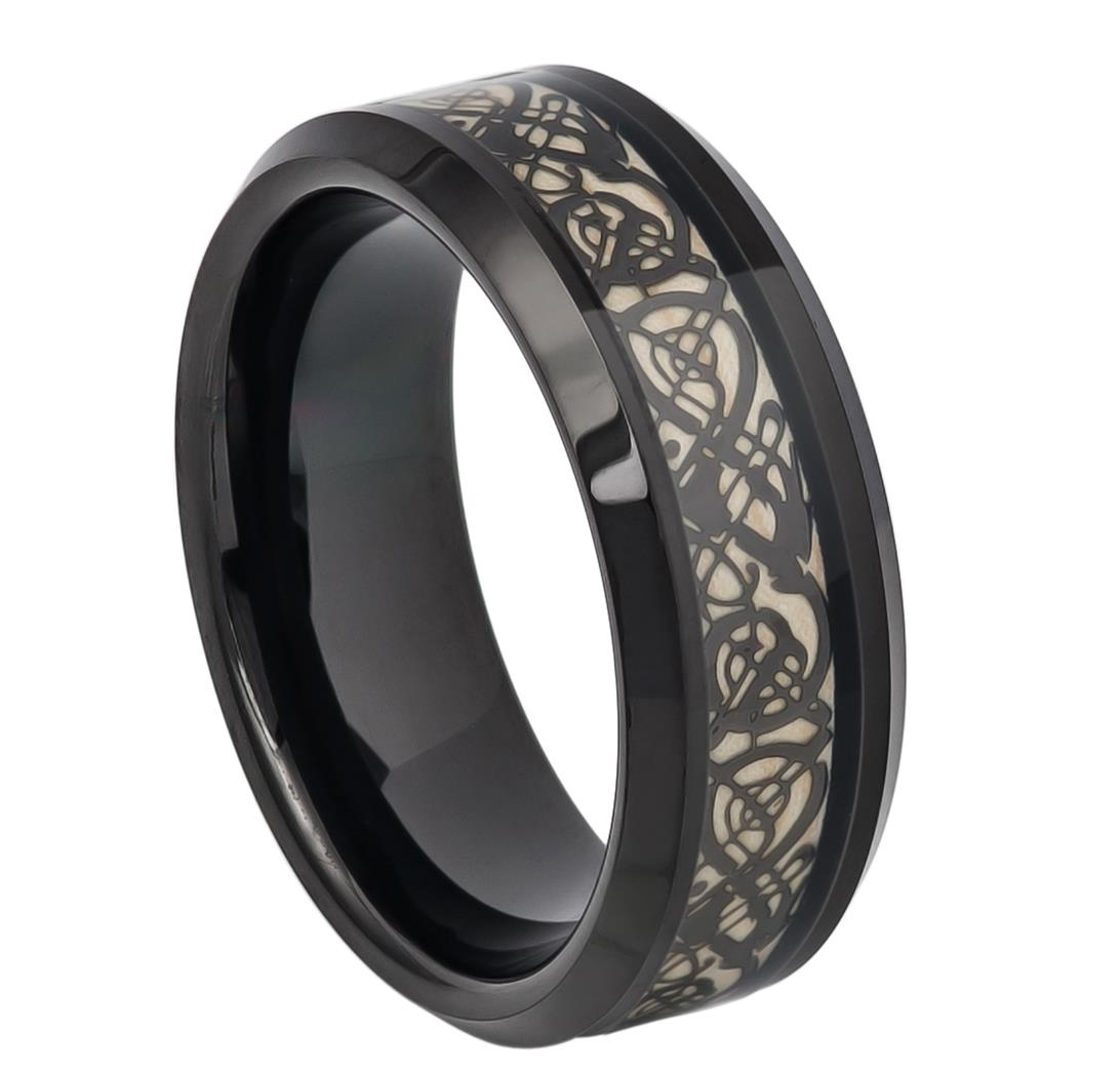 Black Tungsten Celtic Cut-Out Inlay - Pasha Fine Jewelry