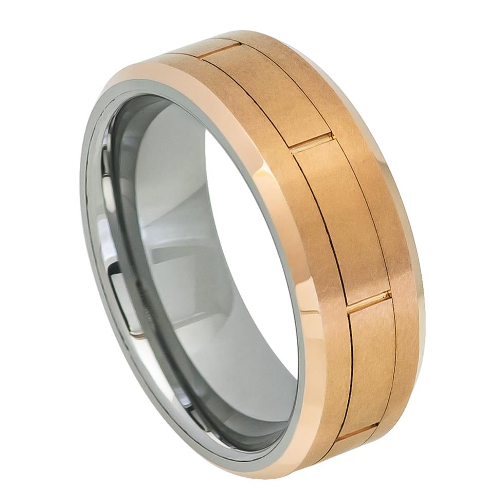 Rose Gold IP Brushed Grooved Center Beveled Edge - Pasha Fine Jewelry