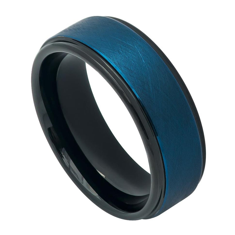 Prussian Blue Tone IP Plated Ice Finish Center High Polished Stepped Edge - Pasha Fine Jewelry