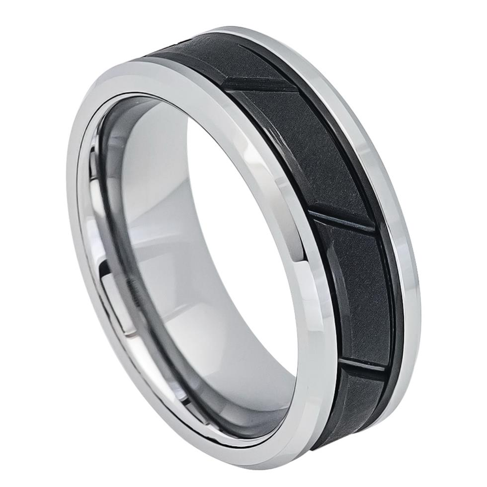Two-tone Black IP Center with Diagonal Grooves - Pasha Fine Jewelry