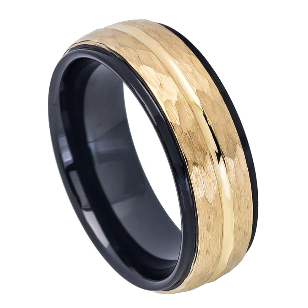 Two-tone Black IP Inside & Yellow Gold IP Hammered Finish with Center Groove Steppe - Pasha Fine Jewelry