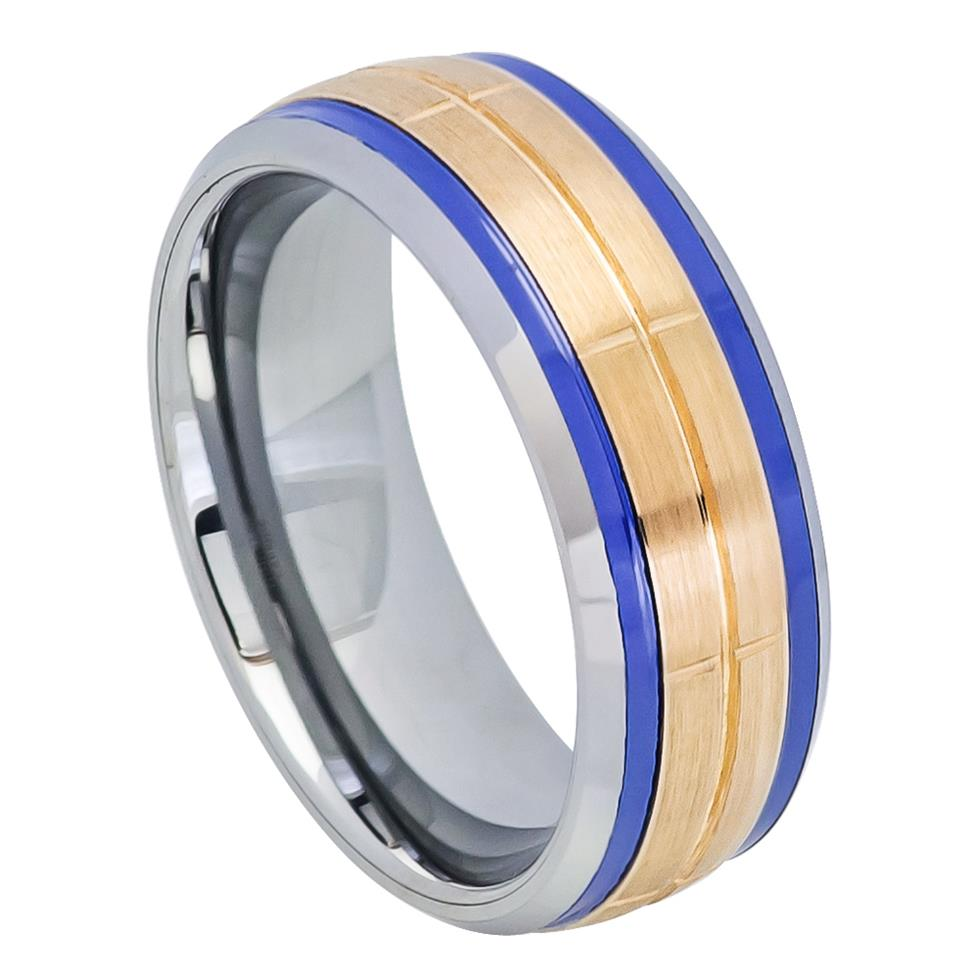 Rose Gold IP Plated Brushed Grooved Center Beveled Edge with Indigo Stripes on both side - Pasha Fine Jewelry