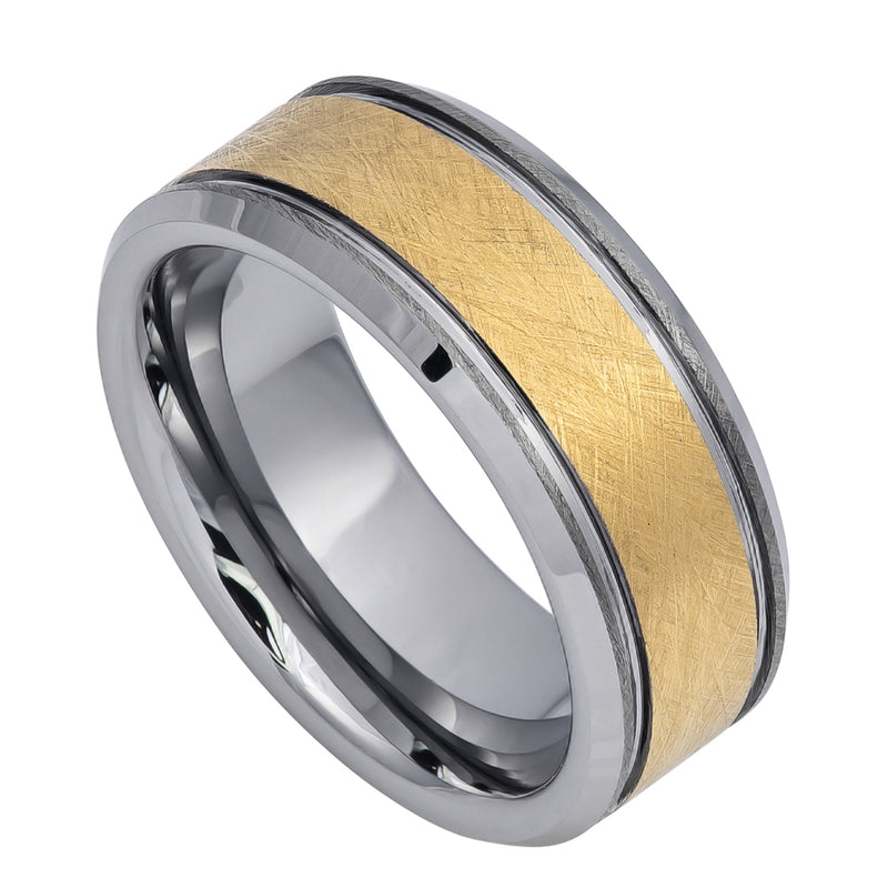 Yellow Gold IP Plated Ice Finish Center High Polished Stepped/Beveled Edge - Pasha Fine Jewelry