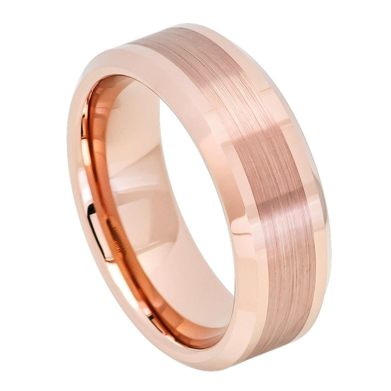 Rose Gold IP Plated Brushed Center High Polish Beveled Edge - Pasha Fine Jewelry