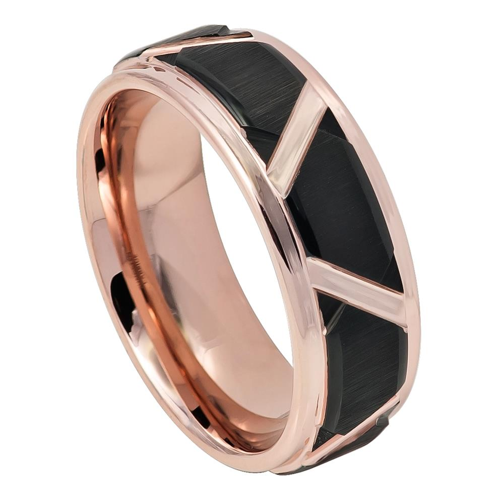 Rose Tungsten with Black Steps - Pasha Fine Jewelry