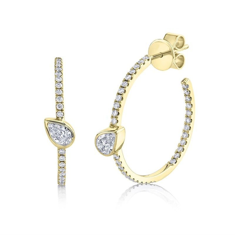 Solitaire Pear Hoops - Pasha Fine Jewelry