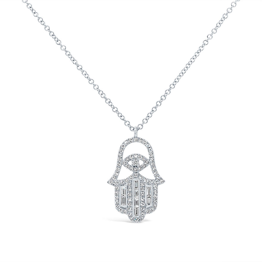 Baguette Hamsa Necklace - Pasha Fine Jewelry