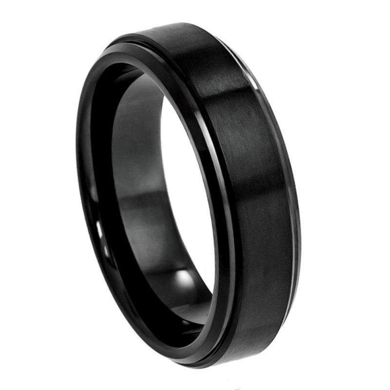 Black Tungsten with Stepped Edge - Pasha Fine Jewelry