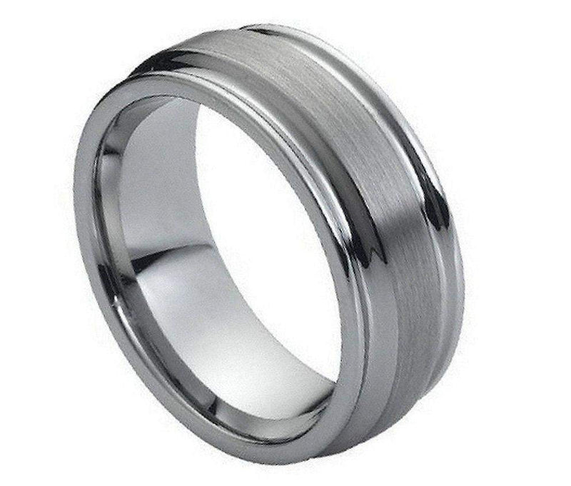 Flat Brushed Center High Polish Ridged Edge - Pasha Fine Jewelry