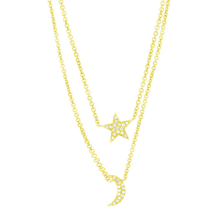 Star & Moon Necklace - Pasha Fine Jewelry