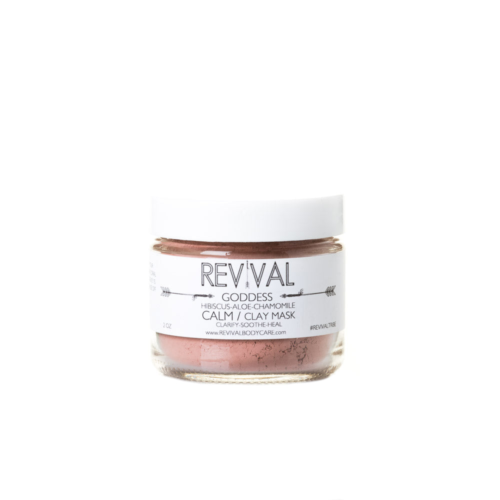 Revival Bodycare Goddess Clay Mask - Calm. Made with  French Rose Clay, Hibiscus, Aloe Vera, Chamomile