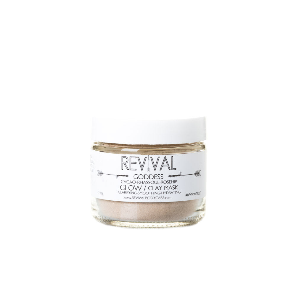 Revival Bodycare Goddess Clay Mask - Glow. Made with Rhassoul Clay, Cacao, Bentonite Clay, Rosehips