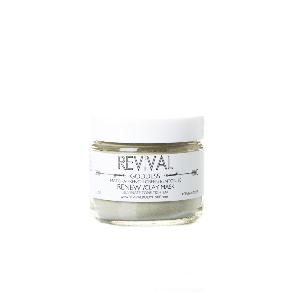 Revival Bodycare Goddess Clay Mask - Renew.  Made with French Green Clay, Bentonite Clay, Matcha
