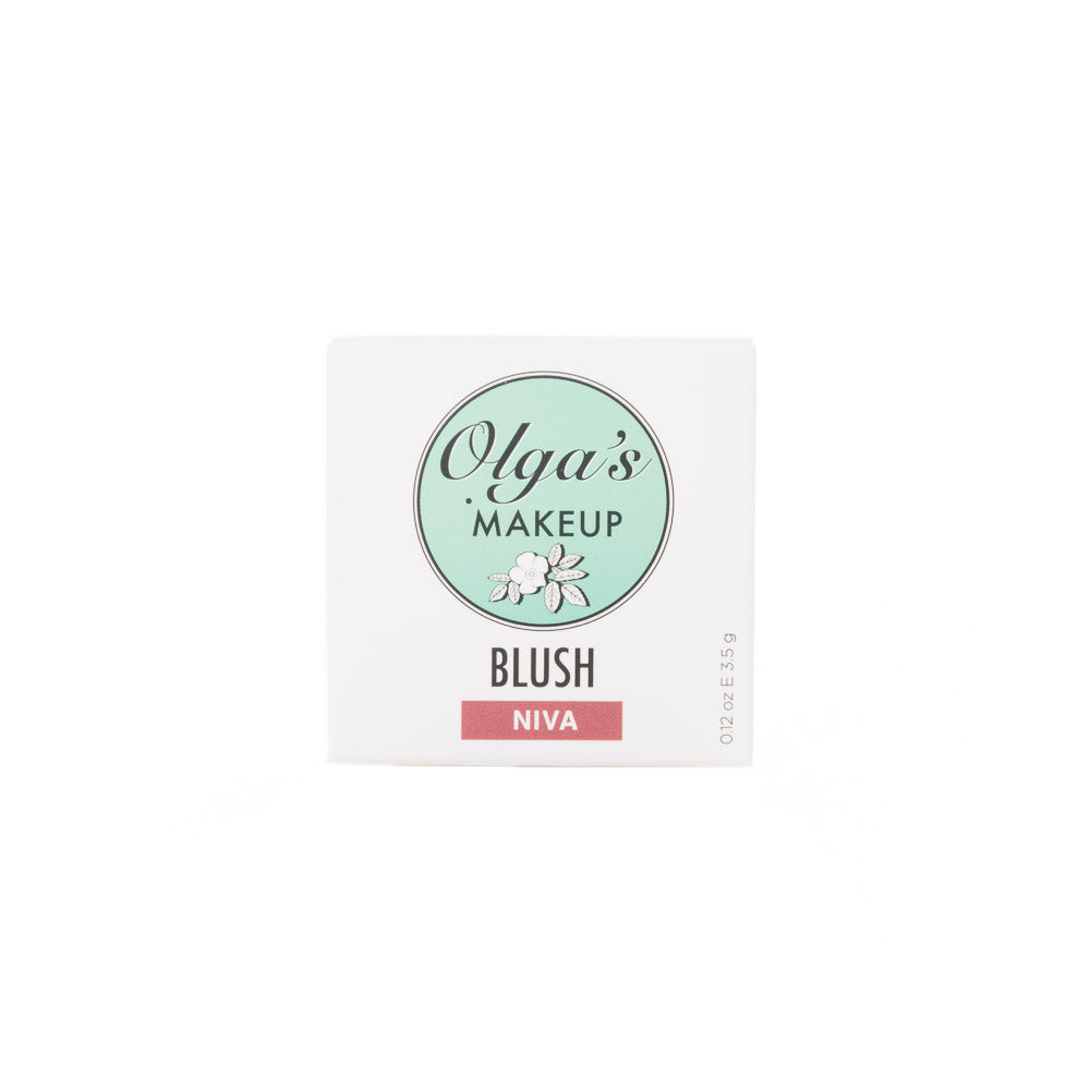 Olga's Organics Loose Mineral Blush.  Pink and Reddish shades. Olga's Organics makeup is Certified USDA Organic, Non-GMO and paraben free, vegan and cruelty-free.