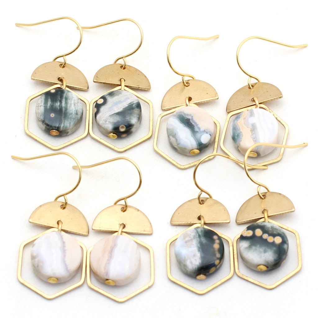 Nia Earrings - Ocean Jasper