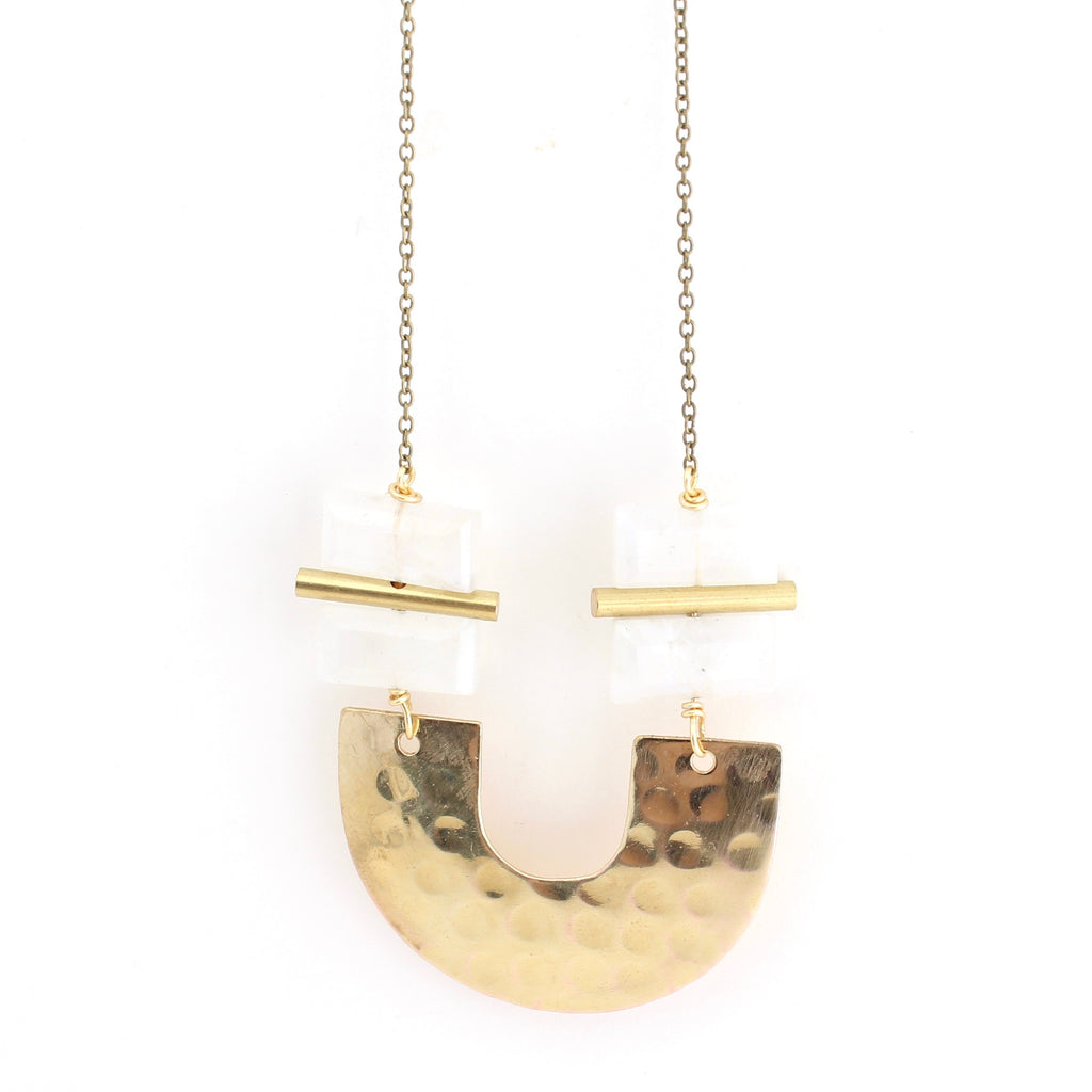 Crafts & Love Tari Necklace - Moonstone.  Long necklace on gold chain with gold and moonstone.