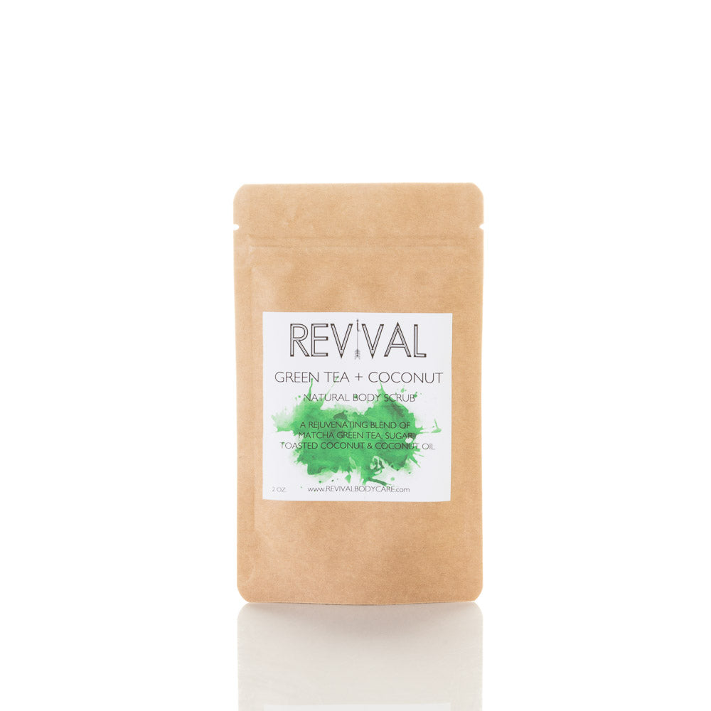 Revival Bodycare Body scrub sample.  Sugar, salt, and coffee body scrubs made with essential oils