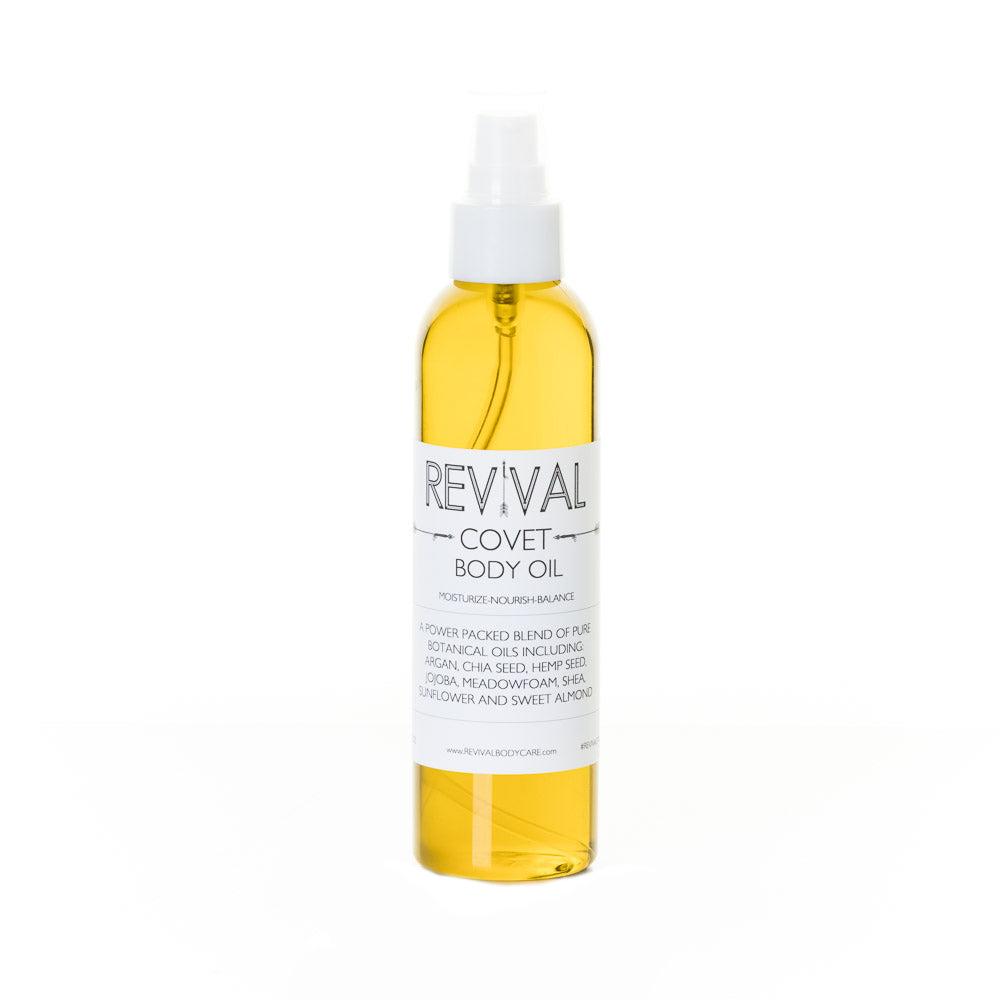 Revival Bodycare Covet Body Oil.  All natural, luxurious after shower body oil made with natural essential oils for amazing skin hydration.