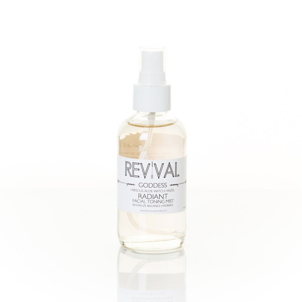 Revival Bodycare Goddess Facial Mist - A refreshing and hydrating face mist made with Witch Hazel Distillate Aloe Vera Hibiscus Radish Root Ferment Filtrate