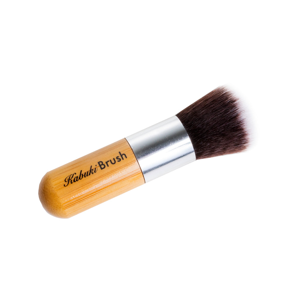 Olga Organic's Vegan Kabuki Brush.  Synthetic, vegan makeup brush perfect for face powder application