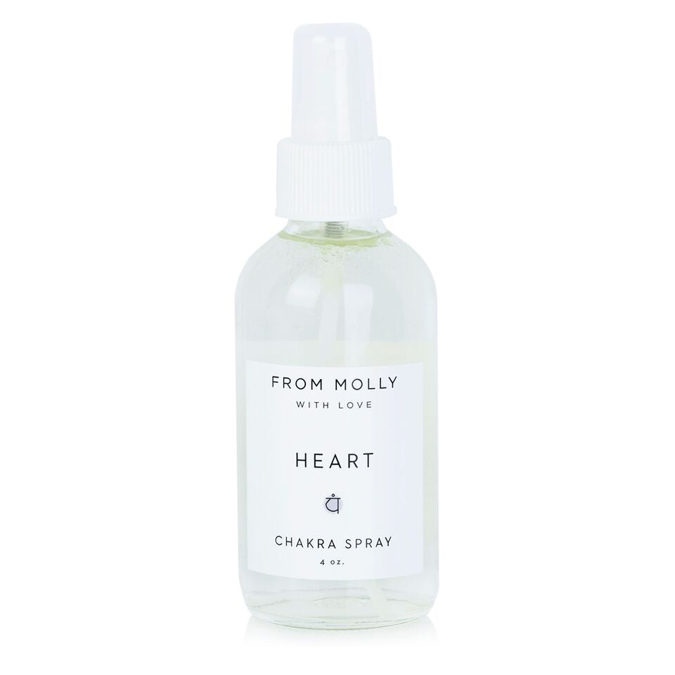 From Molly With Love Heart Chakra spray - Mist can be used while meditating, doing yoga, or as a fragrance.  Floral and heart-centered. Rose, Bergamot, Geranium.