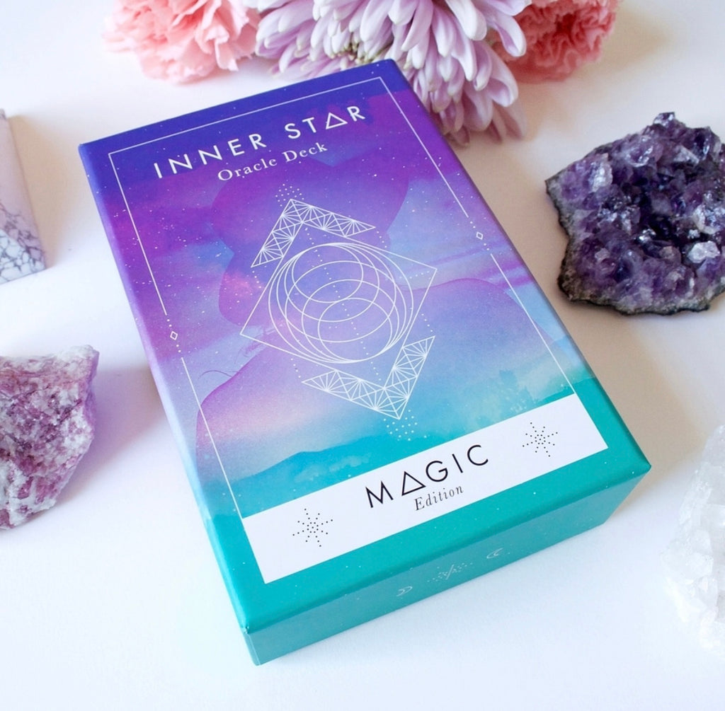 The Darling Tree Inner Star Oracle - Magic Edition. 55 card oracle deck with beautiful colors and sacred geometry to access your intuition and guidance