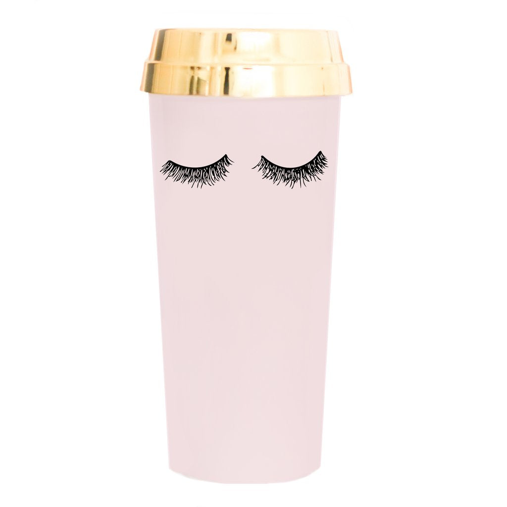 Sweet Water Decor Pink Eyelashes Gold Travel Mug. Pink Plastic Travel Mug with Gold Lid and eyelashes design