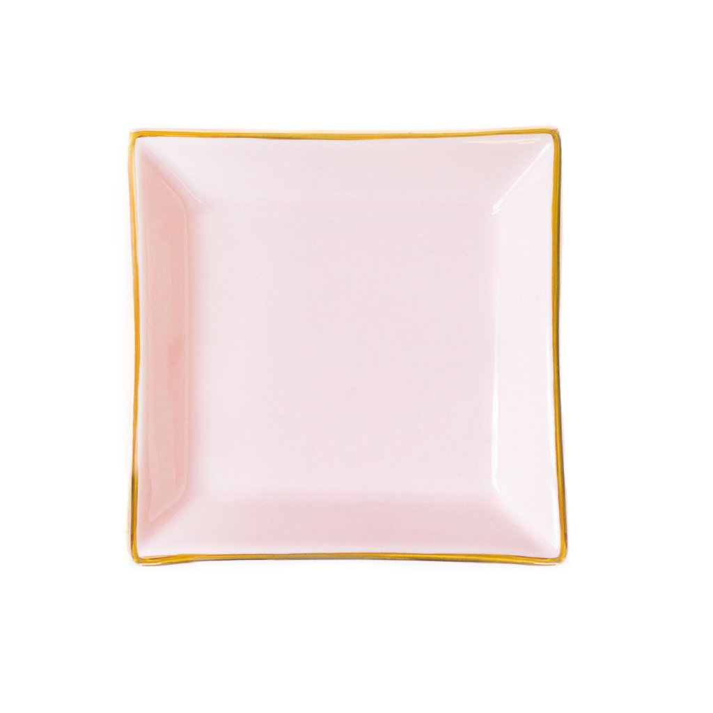 Sweet Water Decor Pink Square Jewelry Dish. Delicate pink square ceramic jewelry dish with gold foil edge.