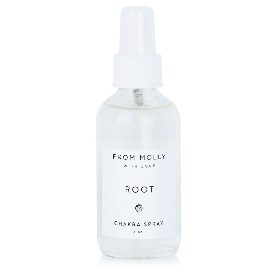 From Molly With Love Root Chakra Spray. Sprays to be used for meditation, yoga, and as fragrance. Earthy, comforting, and meditative. Vetiver, Ylang Ylang, Patchouli, Cinnamon.