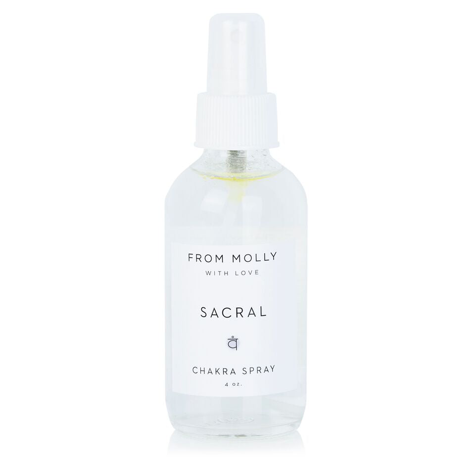 From Molly With Love Sacral Chakra Spray.  MIst to use during yoga, meditation, or as fragrance or home spray.  Deep, earthy citrus scent. Sandalwood, Geranium, Orange.