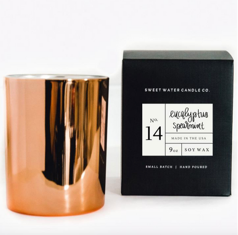 Eucalyptus Spearmint Rose Gold Soy Candle