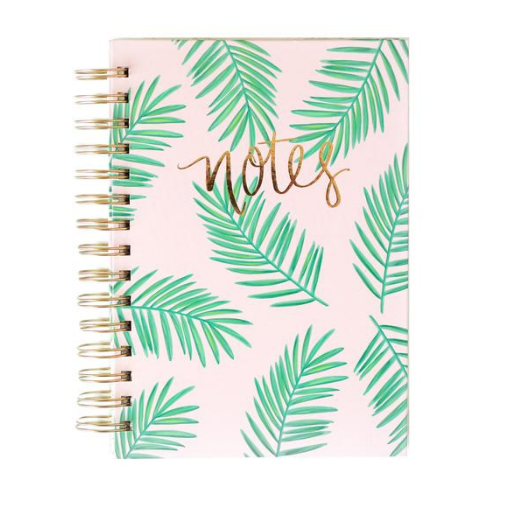Sweet Water Decor - Pink Journal with Green Palm Leafs pattern. Gold Foil Hand Lettered + Hand Drawn Design