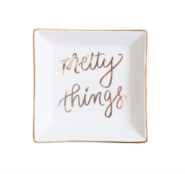 Sweet Water Decor Pretty Things Jewelry Dish.  White Ceramic jewelry dish with gold lettering and edging