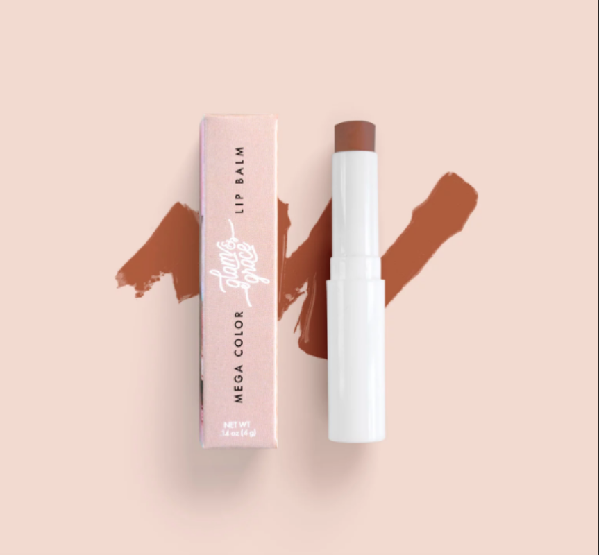 Glam & Grace Mega Color Lip Balm - Brown.  A highly pigment and moisturizing lip balm