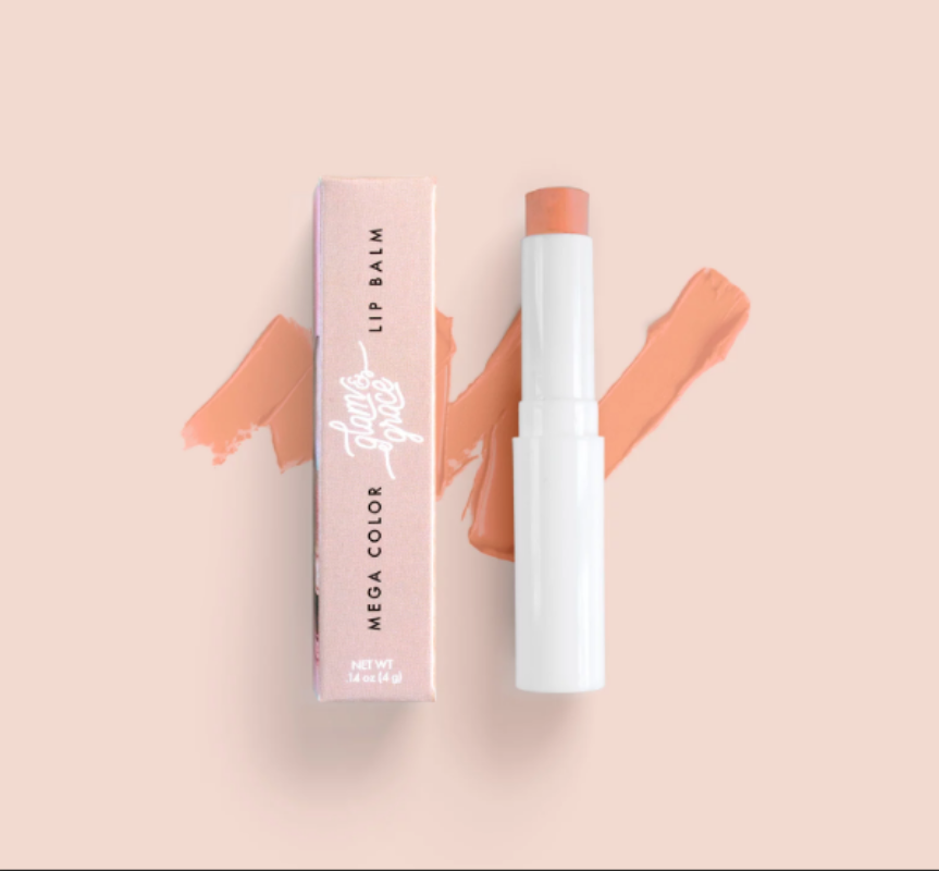 Glam & Grace Mega Color Lip Balm - Peachy Nude.  A highly pigment and moisturizing lip balm