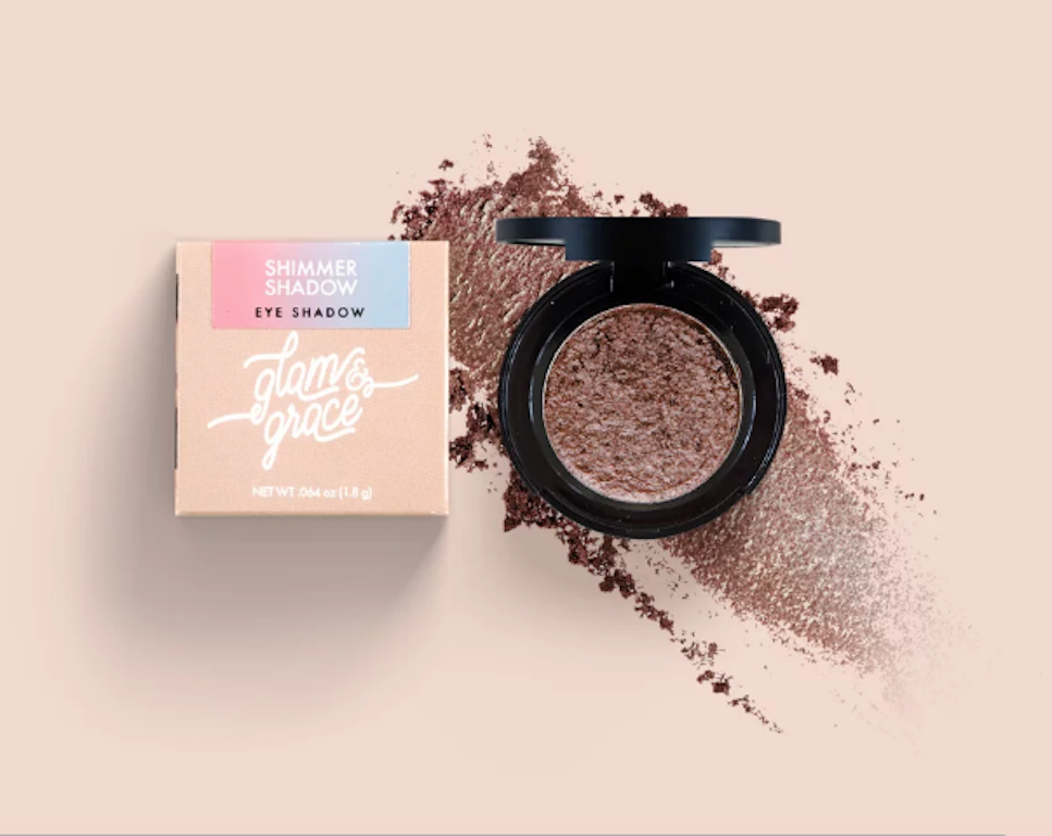 Glam & Grace Shimmer Shadow - Neutral Brown.  Eyeshadow that is handcrafted, cruelty-free, paraben and preservative free, and made fresh in small batches.