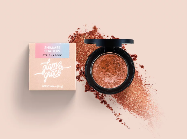 Glam & Grace Shimmer Shadow - Cognac.  Eyeshadow that is handcrafted, cruelty-free, paraben and preservative free, and made fresh in small batches.