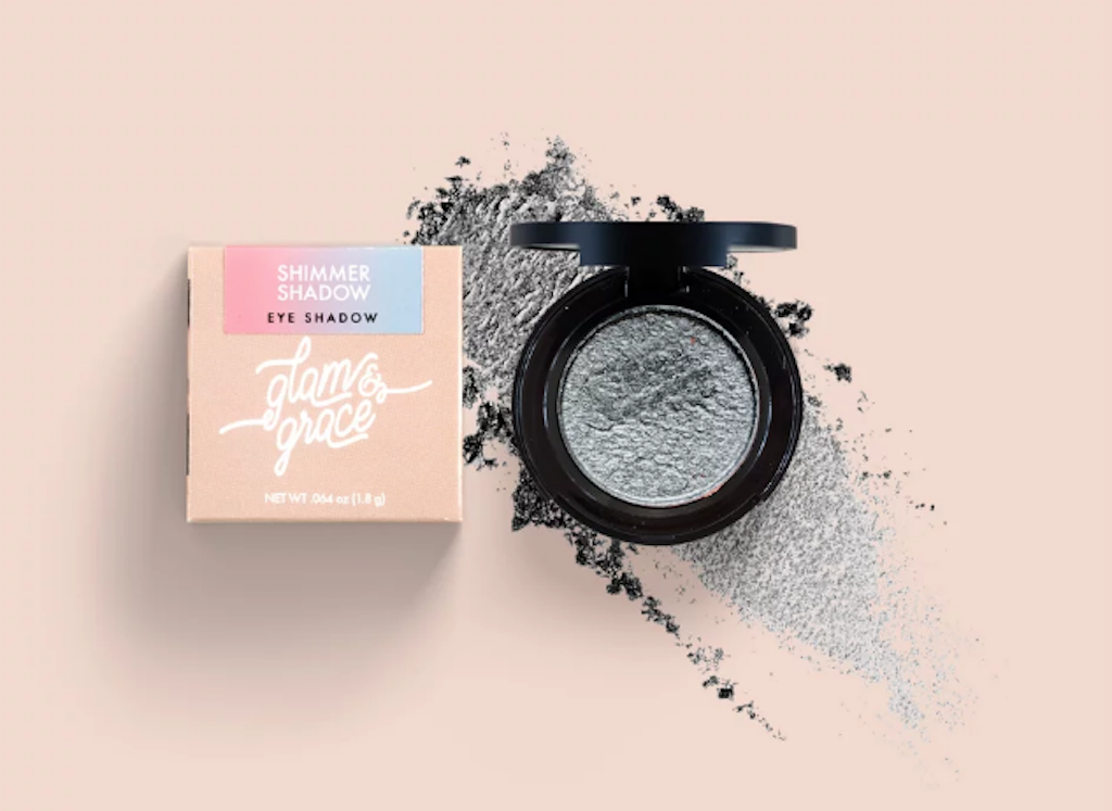 Glam & Grace Shimmer Shadow - Silver.  Eyeshadow that is handcrafted, cruelty-free, paraben and preservative free, and made fresh in small batches.