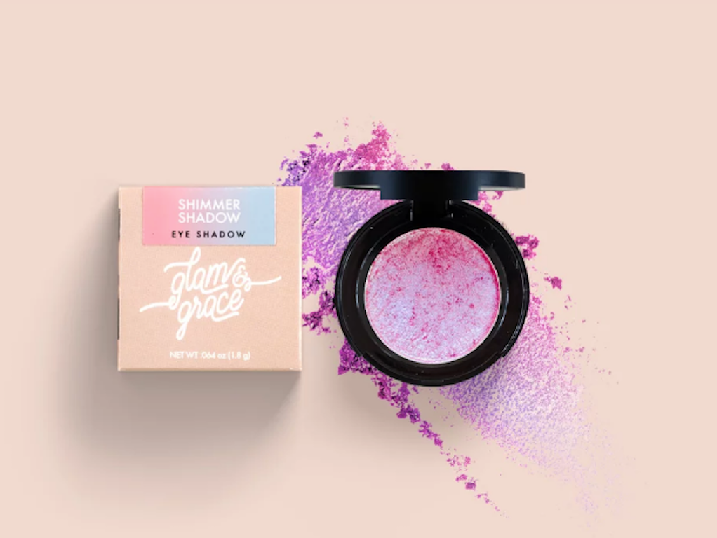 Glam & Grace Shimmer Shadow - Purple Punch.  Eyeshadow that is handcrafted, cruelty-free, paraben and preservative free, and made fresh in small batches.