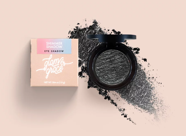 Glam & Grace Shimmer Shadow - Black.  Eyeshadow that is handcrafted, cruelty-free, paraben and preservative free, and made fresh in small batches.