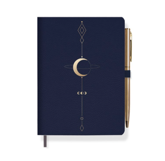 Fringe Studio Moon Tattoo Journal with Slim Gold Pen - Soft faux leather cover with metallic gold art, elastic pen loop with gold pen and gold foil gilded edges.