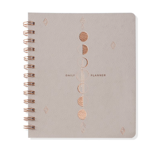 Fringe Studio Moon Phase Daily Planner - Vegan leather cover with metallic rose gold stamping and exposed twin-ring spiral binding