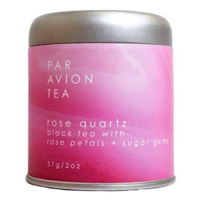 Par Avion Rose Quartz Crystal Tea. This small batch, loose leaf is a Black Tea With Rose Petals & Sugar Gems.