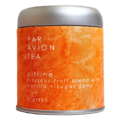 Par Avion Citrine Tea.  Hibiscus fruit blend with vanilla and sugar gems.