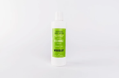 Woodlot Nourishing Lotion - Recharge. Peppermint and rosemary make this soothing lotion the perfect addition to your morning and evening rituals. Soak, soothe, and drift into serenity.
