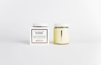 Woodlot Recharge Candle. A stimulating harmony of soothing peppermint and invigorating rosemary make this uplifting scent a remedy for stress and fatigue.