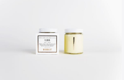 Woodlot Flora Candle - aromatic blend of calming lavender, crisp sweet orange, exotic patchouli, and refreshing bergamot