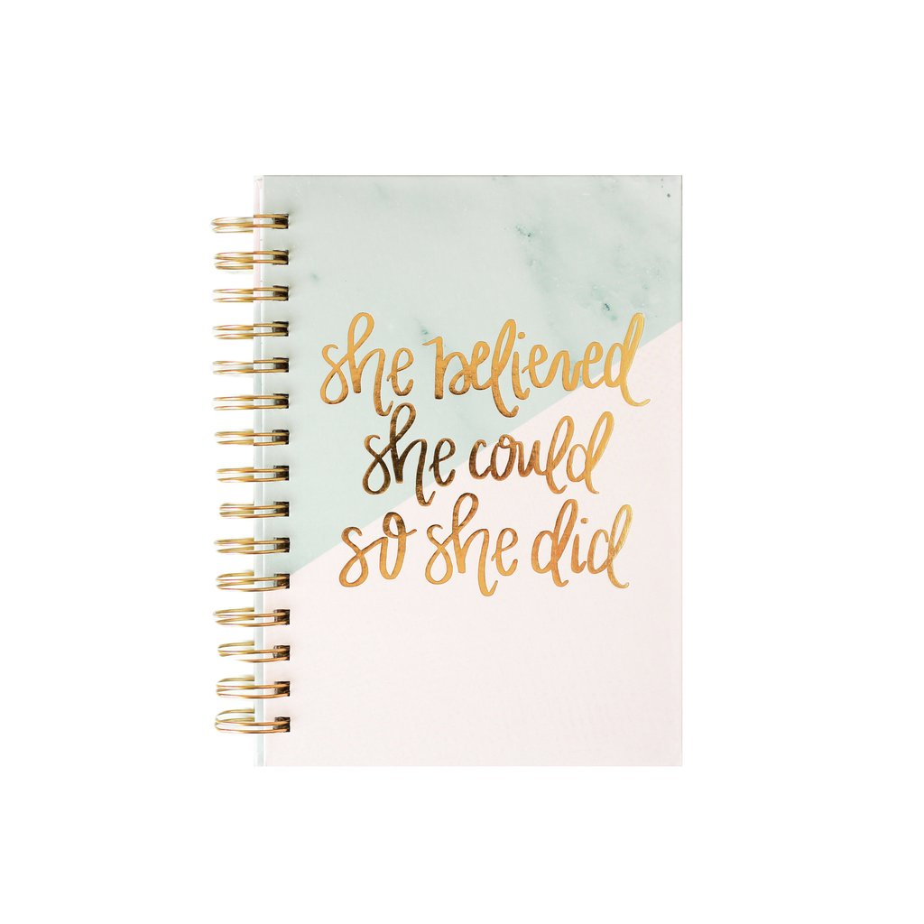 Sweet Water Decor She Believed She Could So She Did Notebook Pink and Green cover with gold lettering