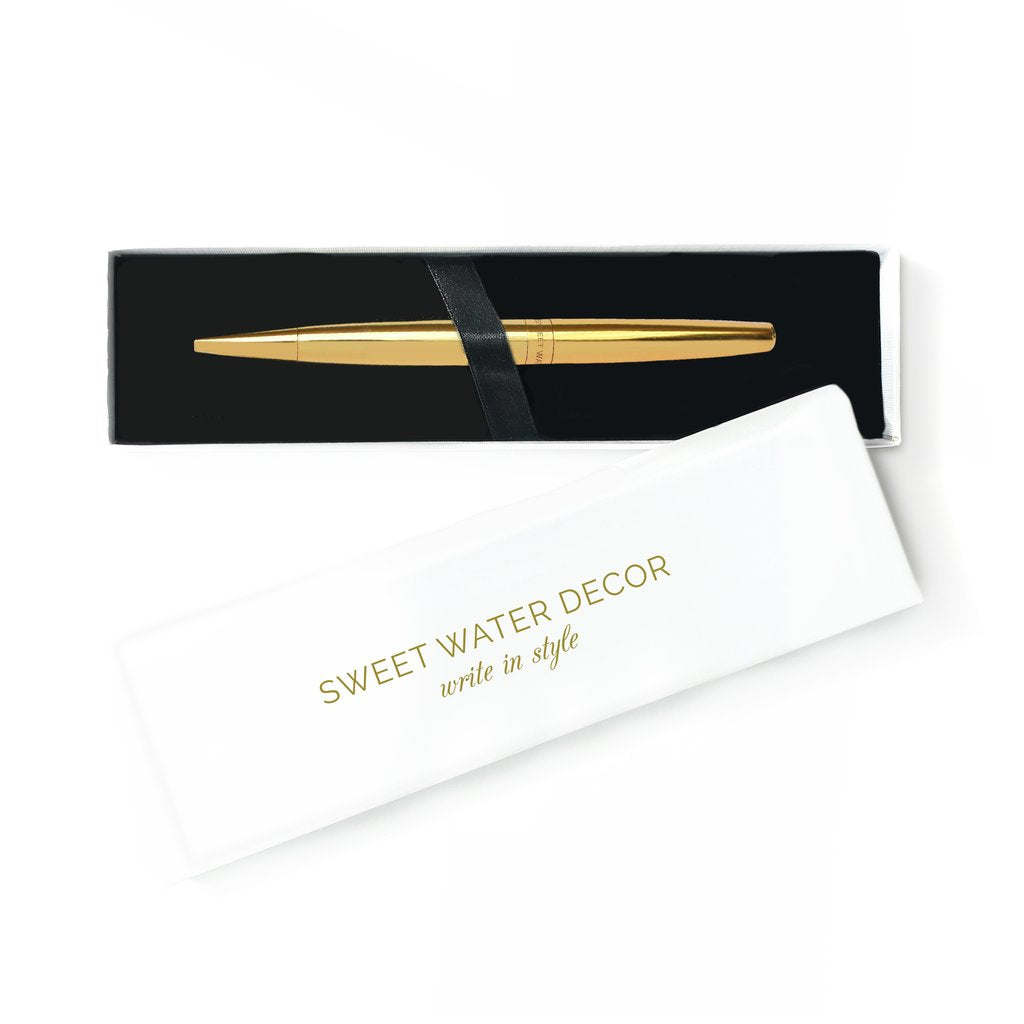Sweet Water Decor Gold Pen in Decorative Box.  Ballpoint pen with black ink .